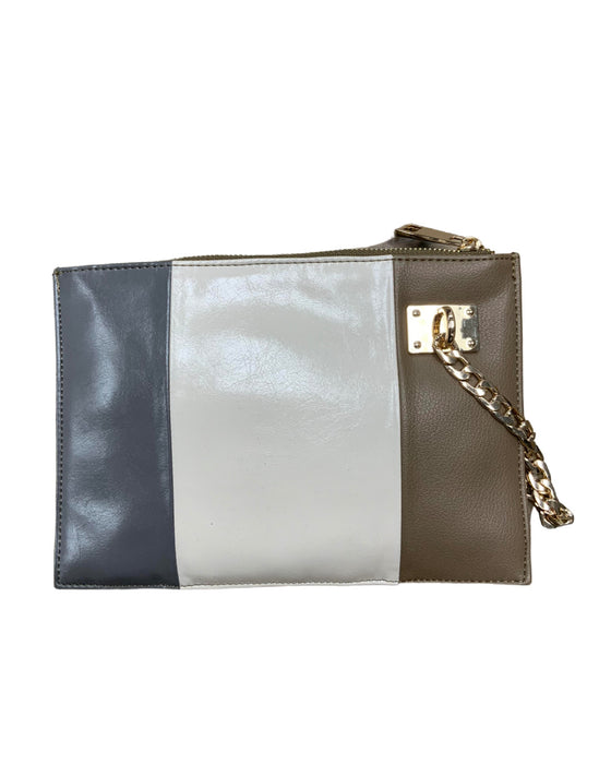 Neutral Toned Color Blocked Wristlet With Chain Detail