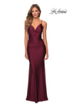 La Femme 27501 V-Neck Draped Fitted Gown With Criss-Cross Back