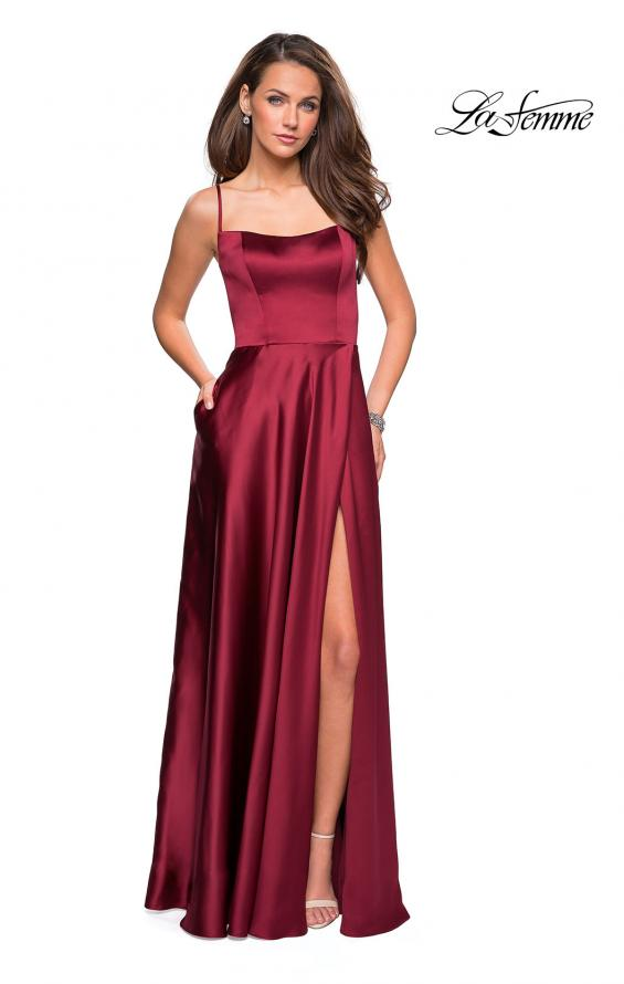 9ed22eec472 ... La Femme 26977 Satin Scoop Neck A-Line Gown with Leg Slit and Open back  ...