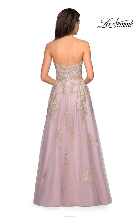 La Femme 27731 Strapless Gown with Tulle Skirt and Gold Lace Embellishments
