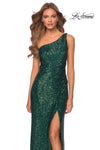 La Femme 28401 One Shoulder Sequin Gown With Leg Slit