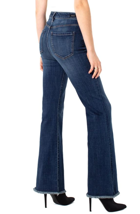 Hi-Rise Flare Jean With Exposed Button Front