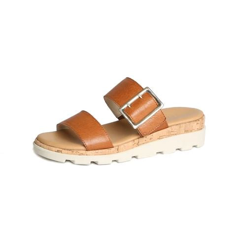 Flexx Leather Two Strap Platform Sandal With Gold Buckle |  Cognac