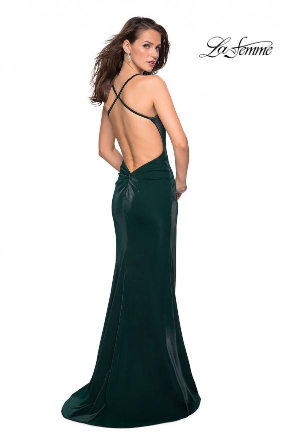 La Femme 27179 Fitted Gown with Subtle Scoop Neck and Open Criss-Cross Back Detail