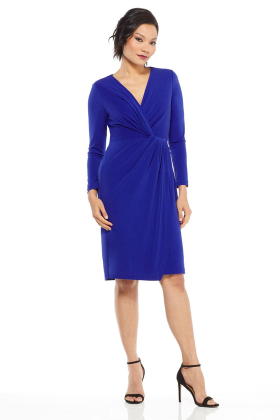Maggy London Long Sleeve V-Neck Knot Front Dress
