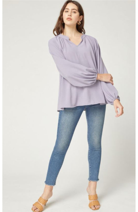 Long Sleeve Split Neck Blouse | Lavender