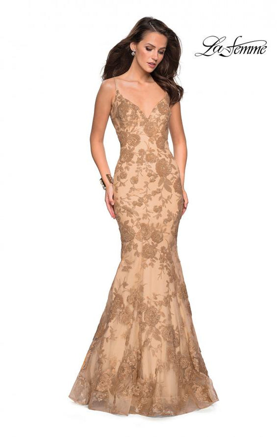 La Femme 27285 Gold Mermaid Style Gown with Lace Applique and Open Back Detail