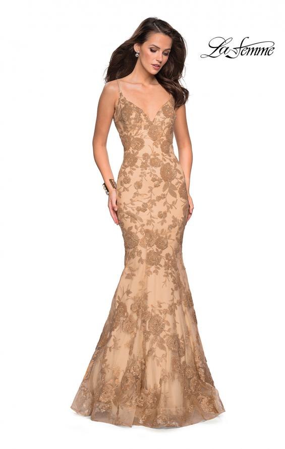 cc82e431cb5f La Femme 27285 Gold Mermaid Style Gown with Lace Applique and Open Back  Detail