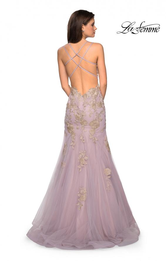 La Femme 27710 Fit and Flare Tulle Gown with Lace Applique and Criss-Cross Open Back