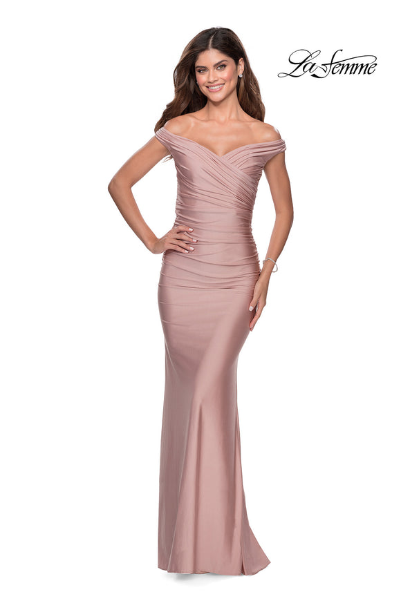 La Femme 28450 Off The Shoulder Sweetheart Rouched Fitted Gown