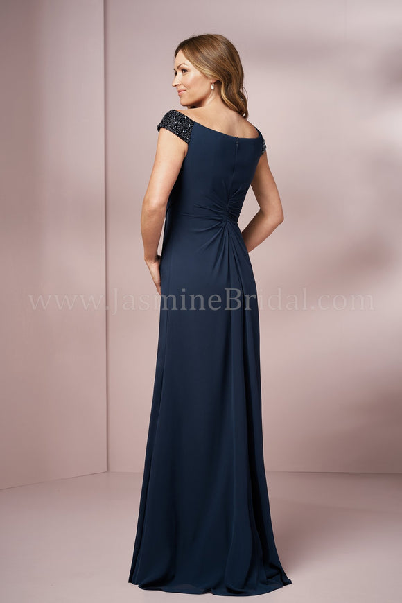 Jasmine J205003 Long Portrait Neckline Jade Chiffon MOB Dress | Multiple Colors
