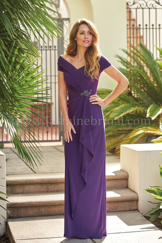 Jasmine J205057 Jersey Surplice Neckline Gown with Broach