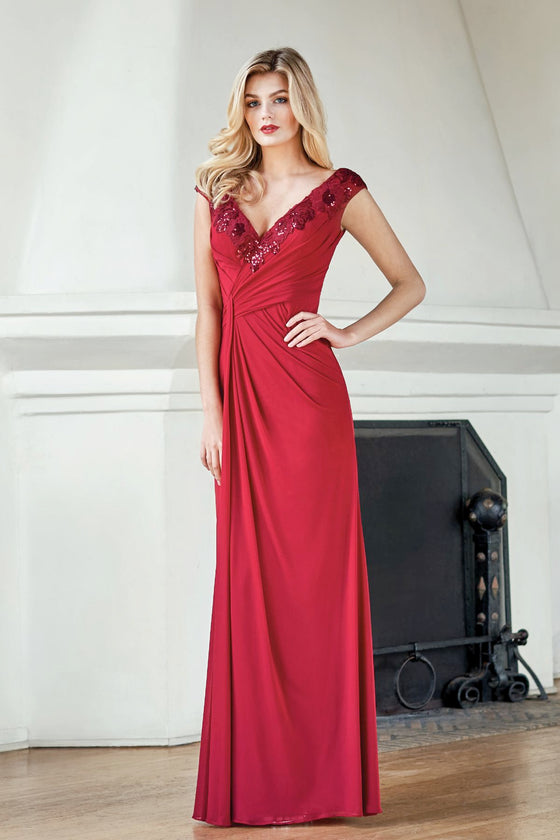 Jade V-Neck Stretch Illusion with Sequin Lace J215061