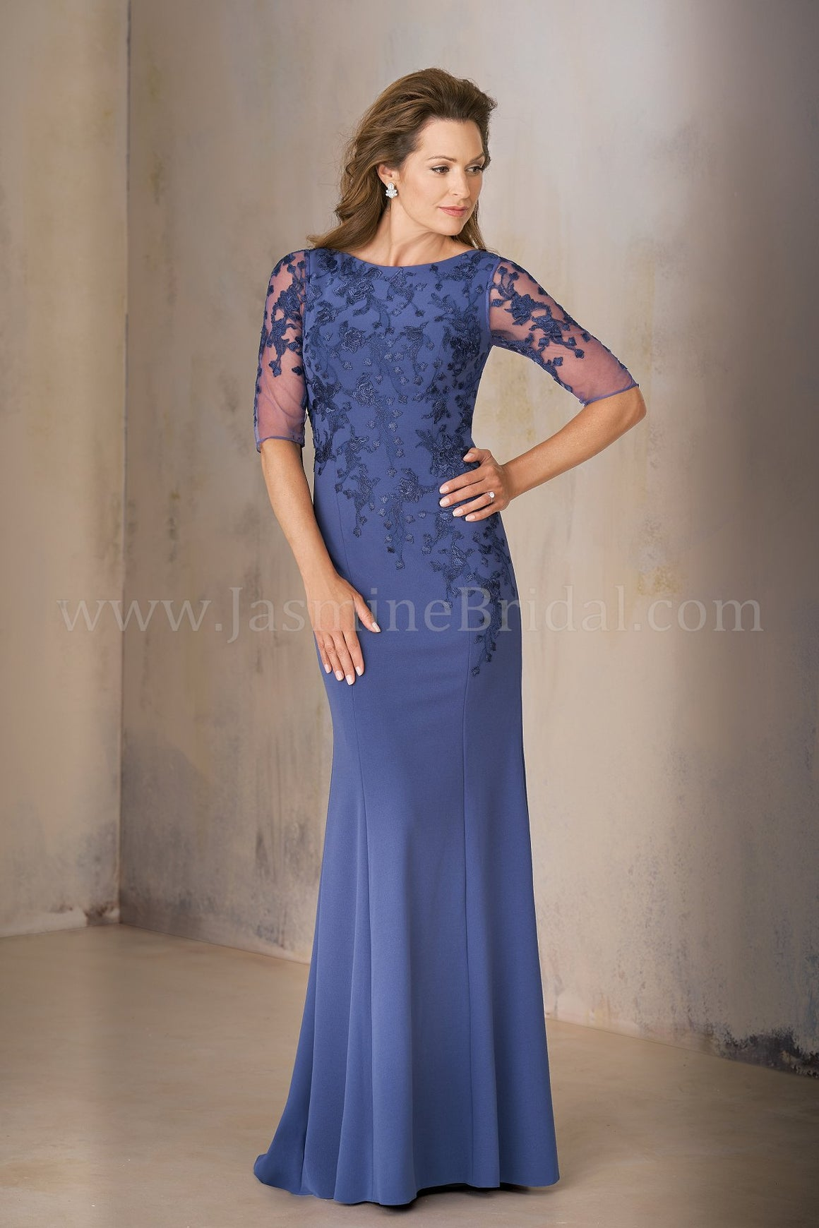 Jasmine K208002U Long Jewel Neckline Stretch Crepe w/ Lace MOB Dress with Sleeves  | Multiple Colors