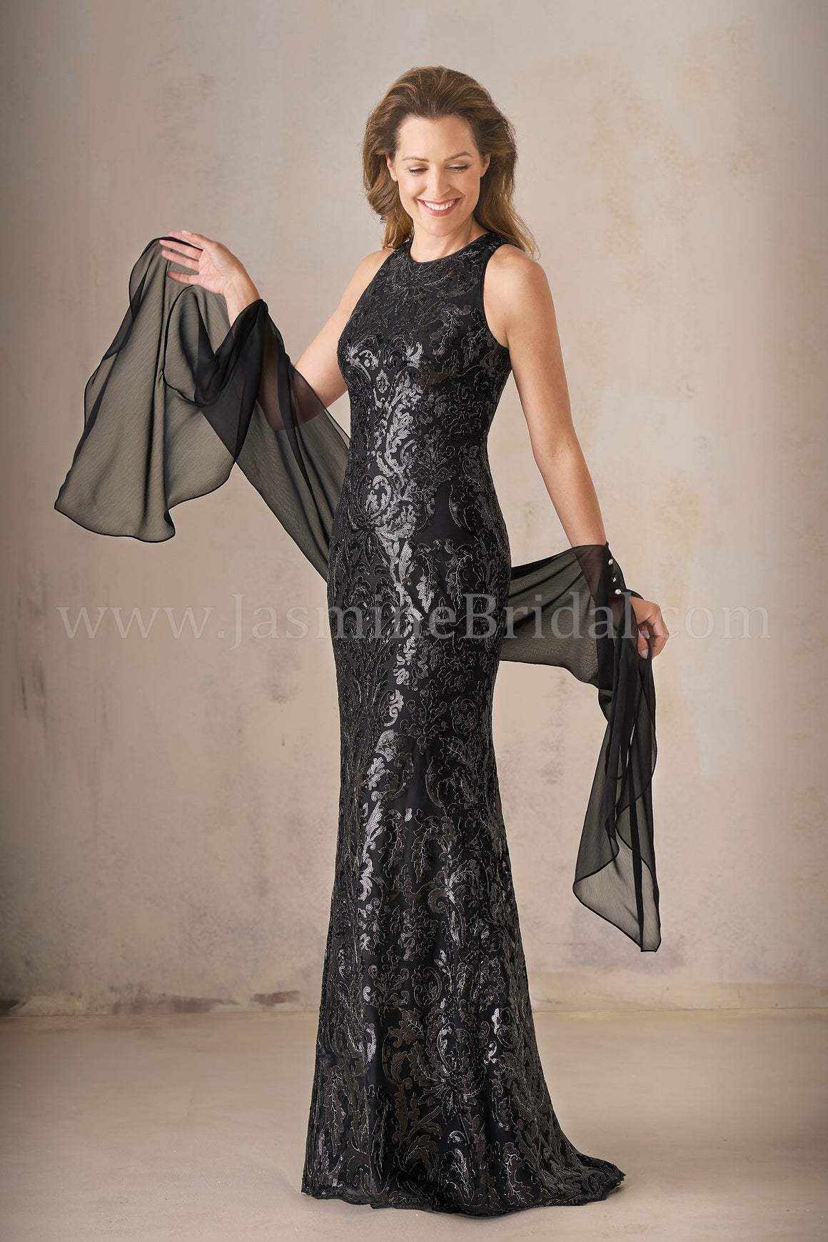 Jasmine K208007 Long Jewel Neckline Metallic Embroidery Lace MOB Dress with Shawl | Multiple Colors