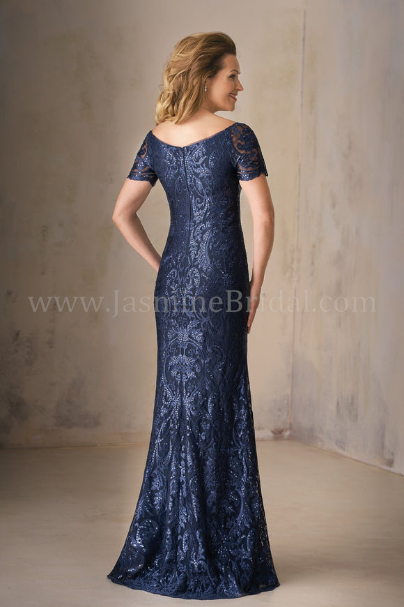 Jasmine K208009 Long Portrait Neckline Embroidery Lace MOB Dress with Short Sleeves | Multiple Colors