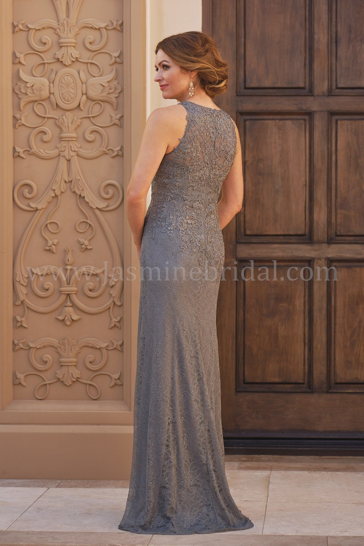 7ca46f4b2b8 ... Jade Couture K208060 Allover Lace Gown with Jewel Neckline ...