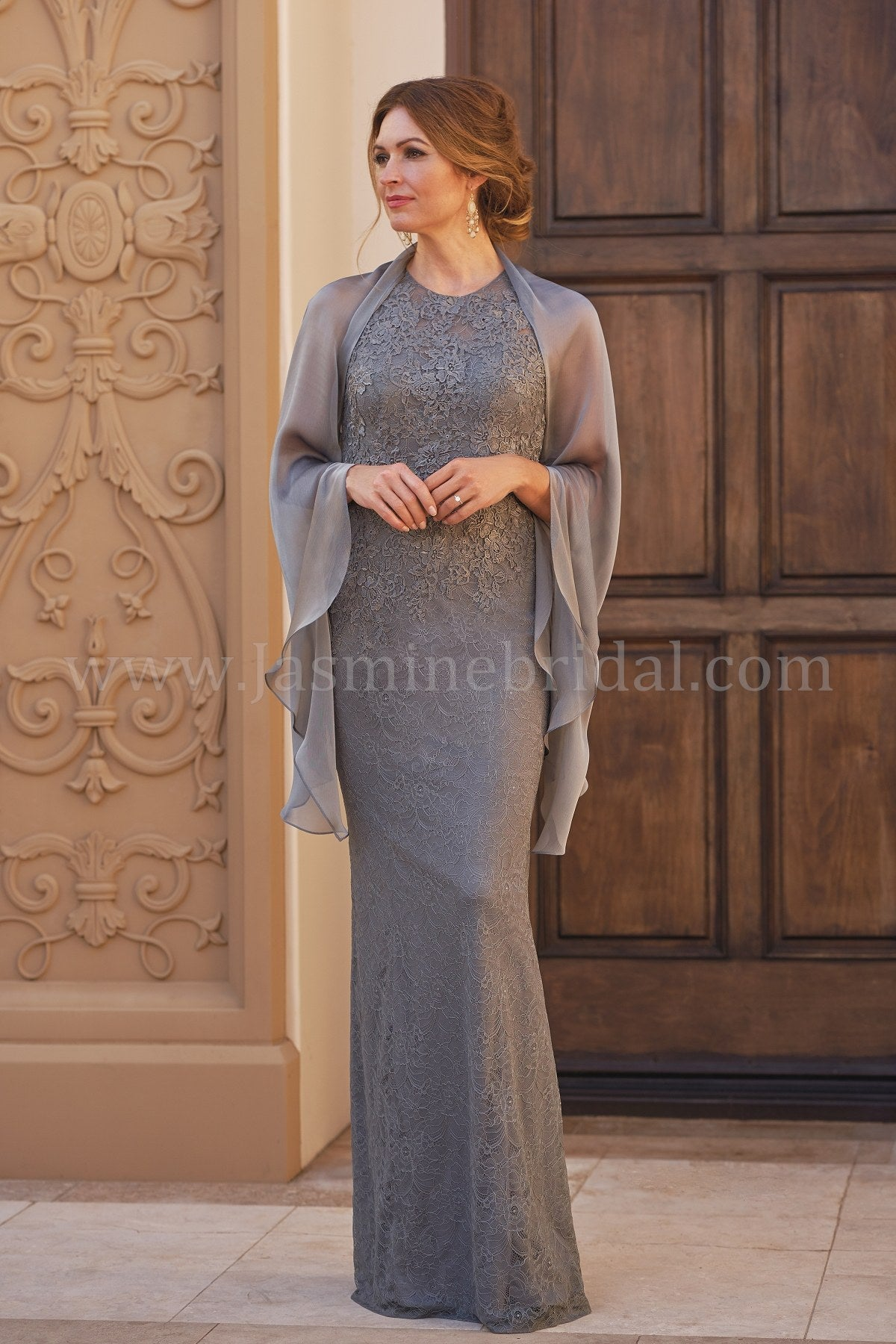 0b1280f498e Jade Couture K208060 Allover Lace Gown with Jewel Neckline ...