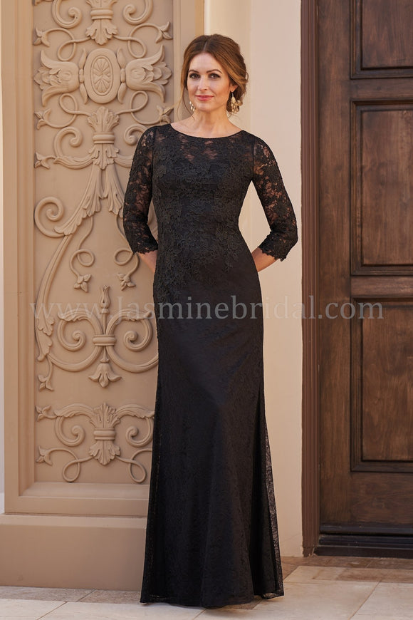 Jade Couture K208060U 3/4 Sleeve Allover Lace Gown with Jewel Neckline