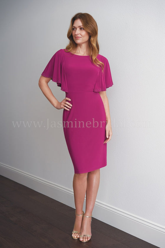 Jasmine M200054 Cape Neckline Jersey Sheath Dress
