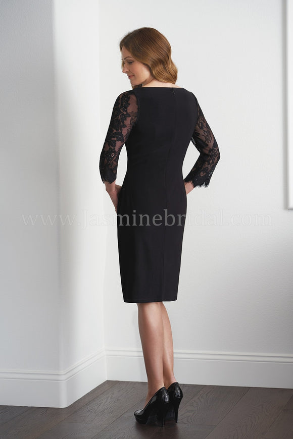 Jasmine M20055 3/4 Lace Sleeve Jersey Surplice Cocktail Dress