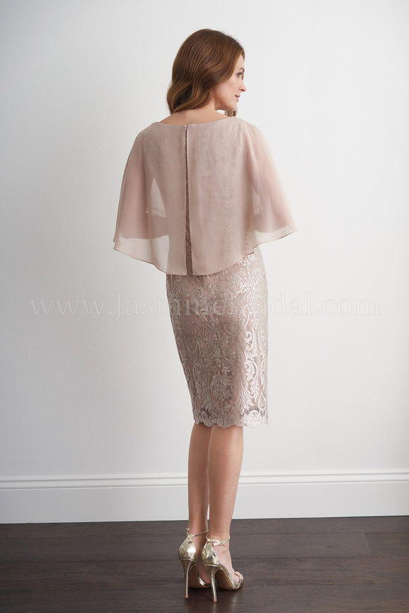Jasmine M20059 Embroidered Lace Cocktail Dress with Sheer Capelet