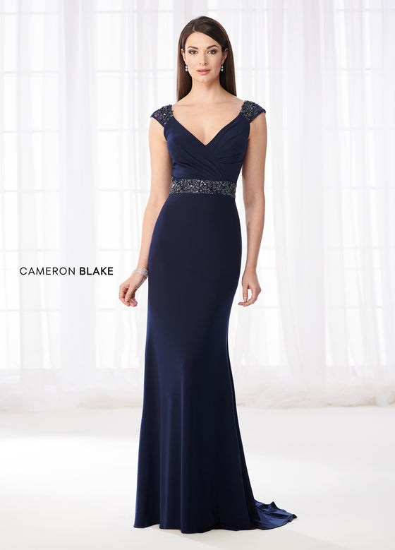 Cameron Blake by Mon Cheri 218617 Sweetheart Jersey Surplice Gown with Beaded Waist