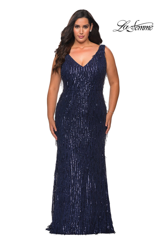 La Femme 28946 Plus Size Sequin Fringe V-Neck Gown