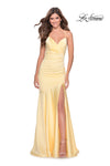 La Femme 28720 Wrap Front Drop Waist Stretch Satin Gown With Lace Up Back