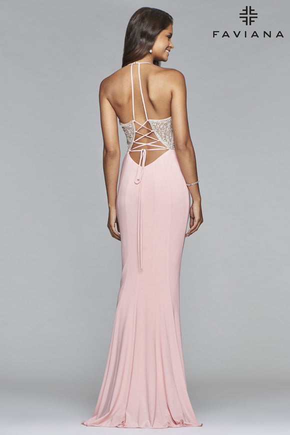 Faviana S10060 V-Neck Gown with Beaded Bodice and Lace-up Back