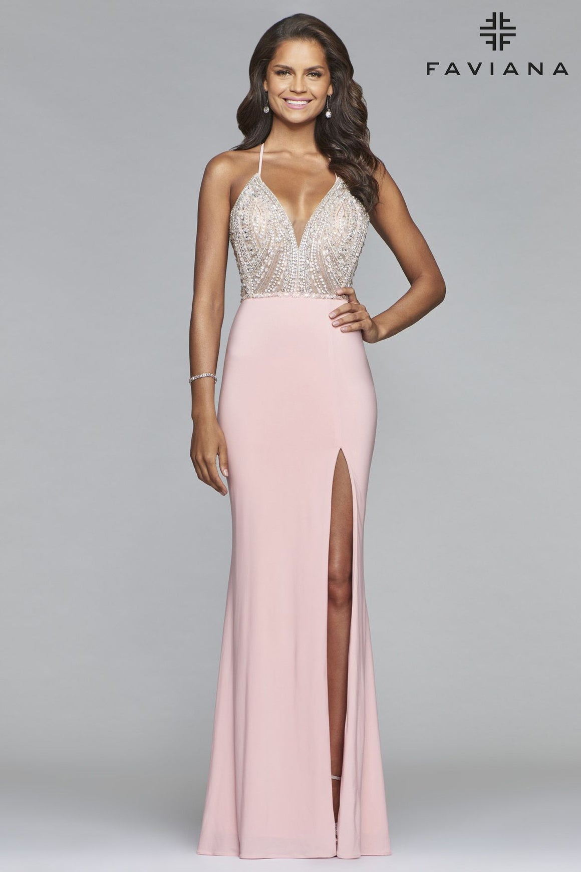 791439774435 Faviana S10060 V-Neck Gown with Beaded Bodice and Lace-up Back