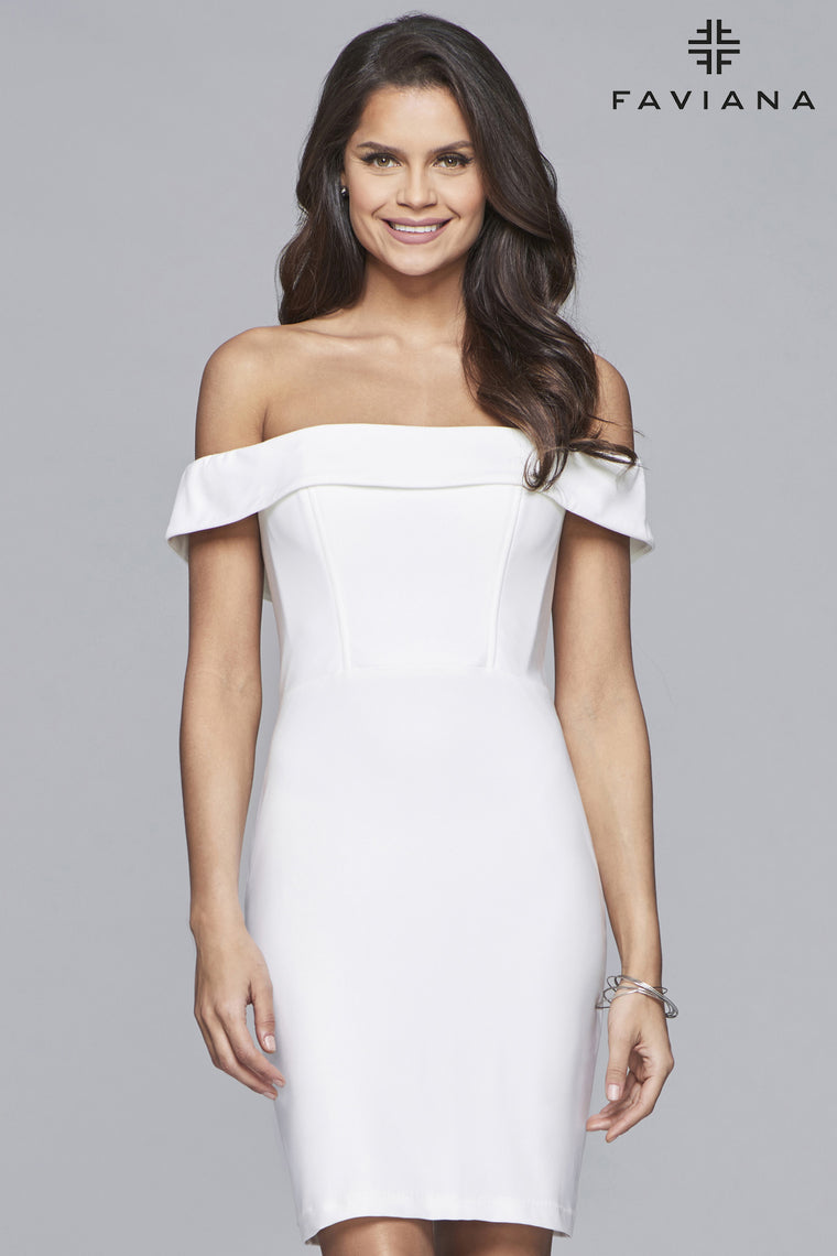 Faviana S10162 Short jersey off-the-shoulder dress