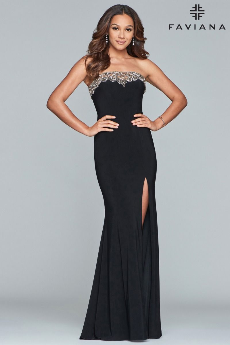 Faviana 10200 Strapless Fit and Fare with Beaded Neckline