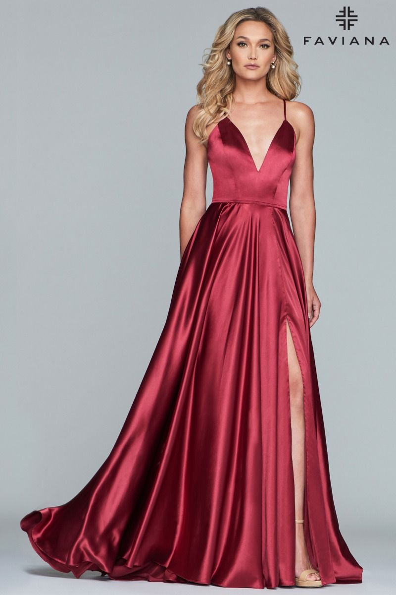 Faviana S10209 V Neck Charmeuse Gown With Lace Up Back And Side Pockets