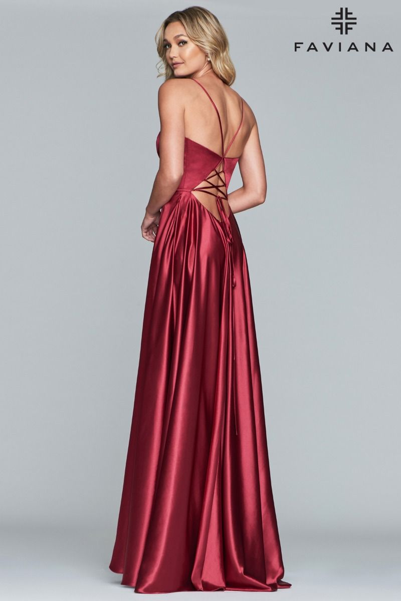 578ea8cb630 Faviana S10209 V-Neck Charmeuse Gown with Lace-up Back and Side Pockets ...