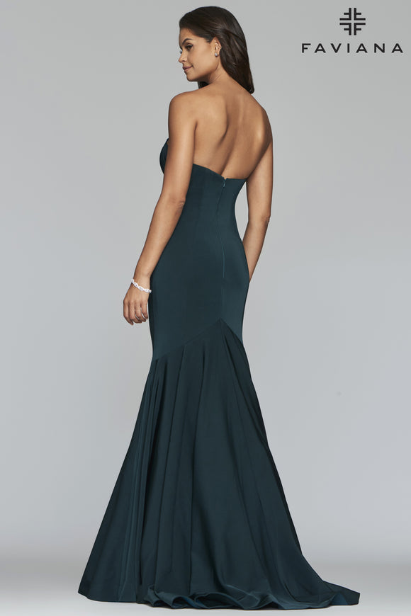 Faviana S10213 Satin Strapless Mermaid Gown with Sweetheart Neckline