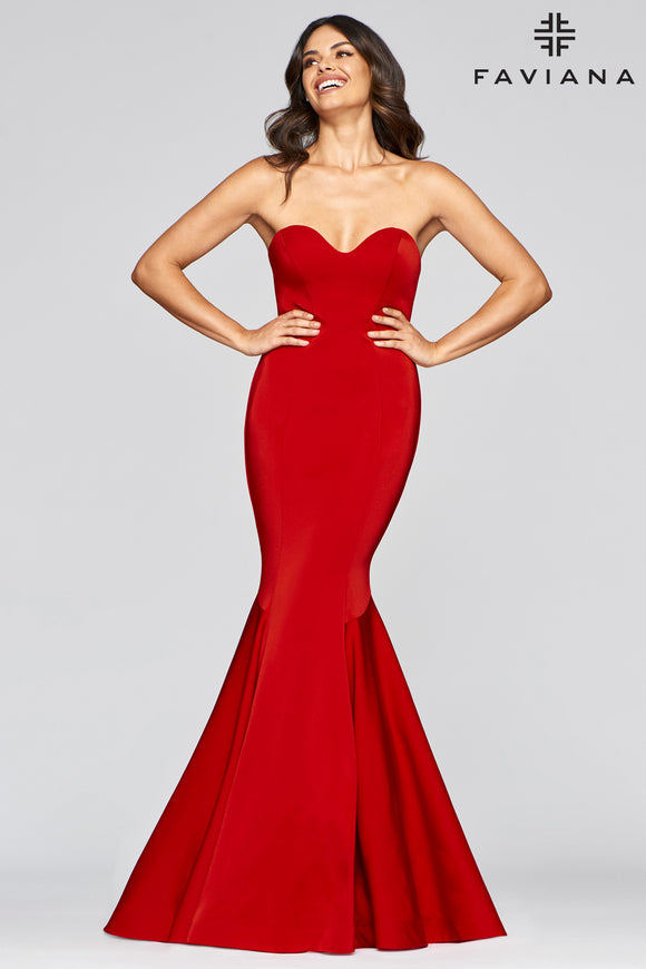 Faviana S10213 Strapless Sweetheart Stretch Satin Gown With Mermaid Skirt