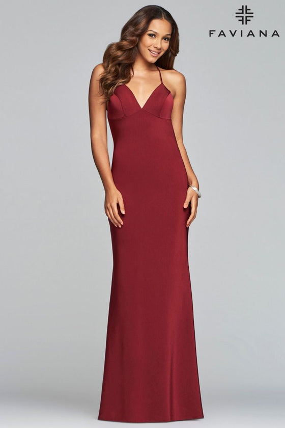 Faviana Style 10214 Fitted Satin Backless Gown with Criss Cross Spaghetti Straps