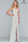 Faviana S10215 V-Neck Drape Front Metallic Gown with Leg Slit