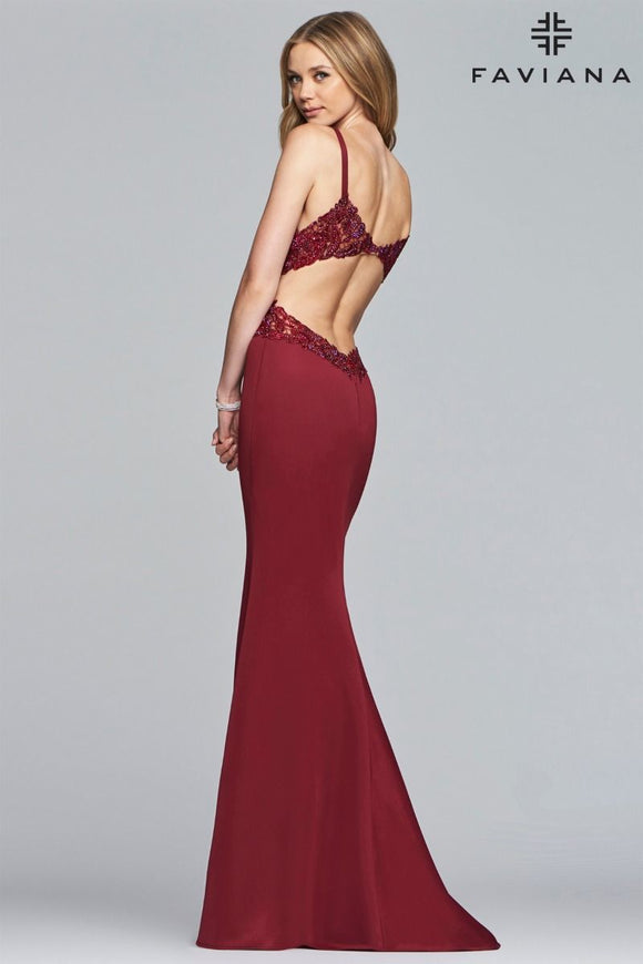 Faviana S 10226 Fit and Flare Gown with Open Back and Lace Applique Detail