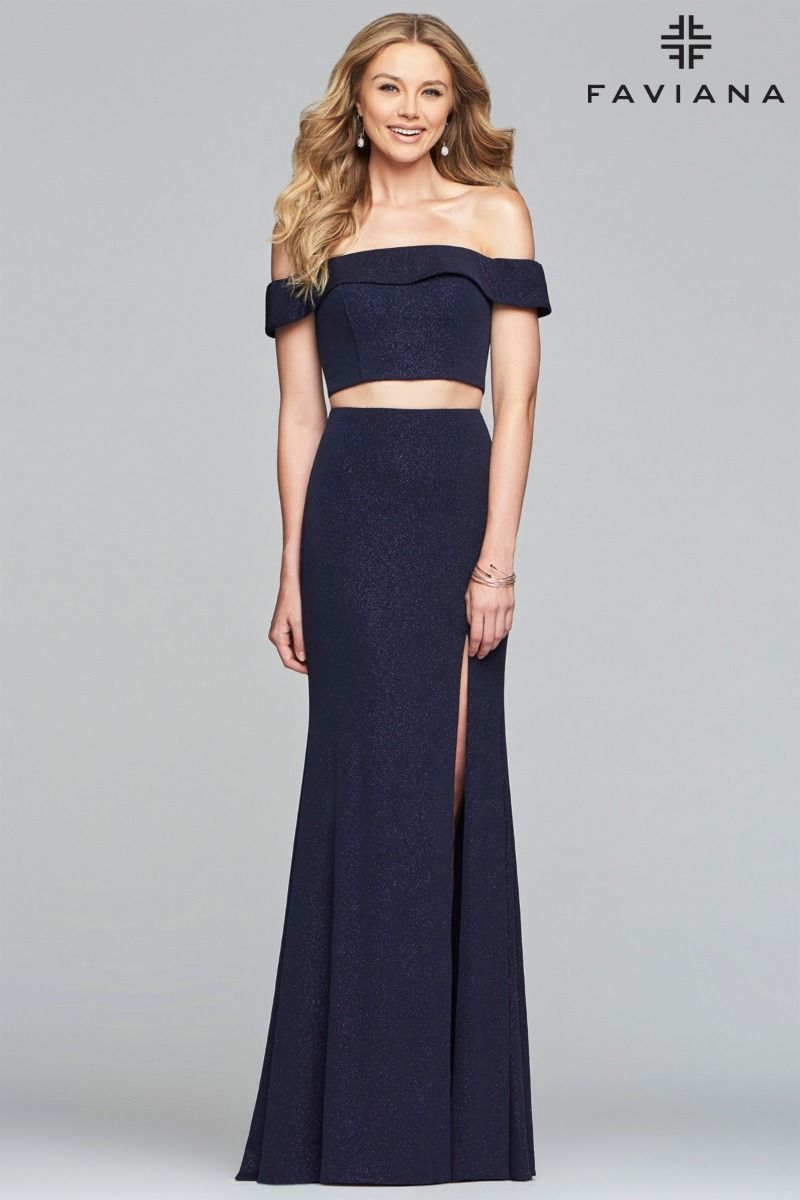 Faviana 10262 Off-shoulder Glitter Jersey Two-piece Gown with Fit & Flare Skirt
