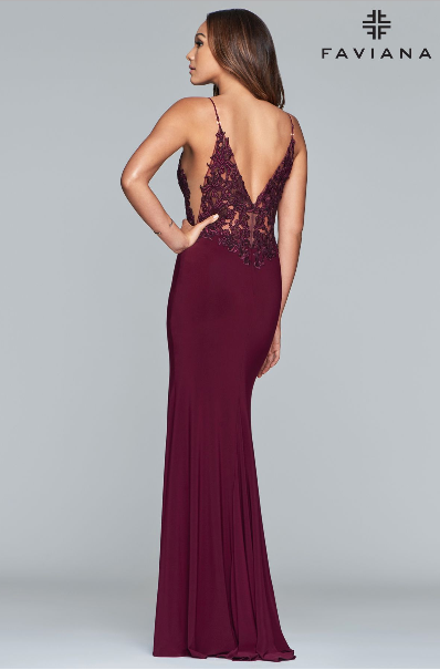 Faviana S10275 V-Neck Gown with Applique Bodice, Side Illusion Cutout and Front Slit