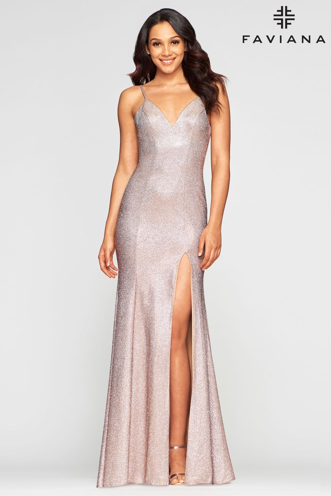 Faviana S10427 Metallic Jersey Gown With Criss-Cross Back Detail and Side Slit
