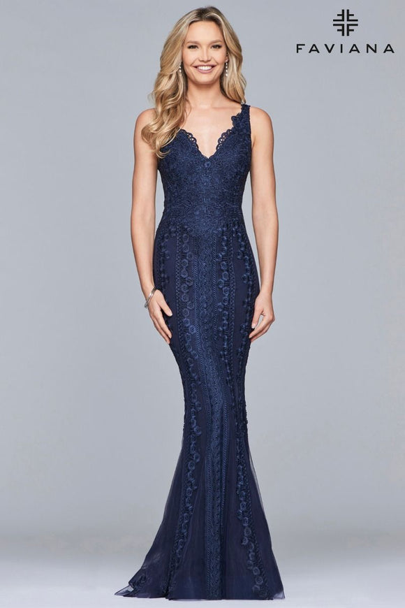 Faviana S8089 V-Neck Lace Applique Fit & Flare Gown