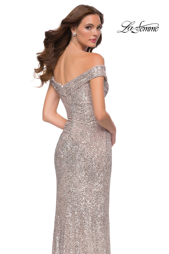 La Femme 29831 Off the Shoulder Sequin Gown |