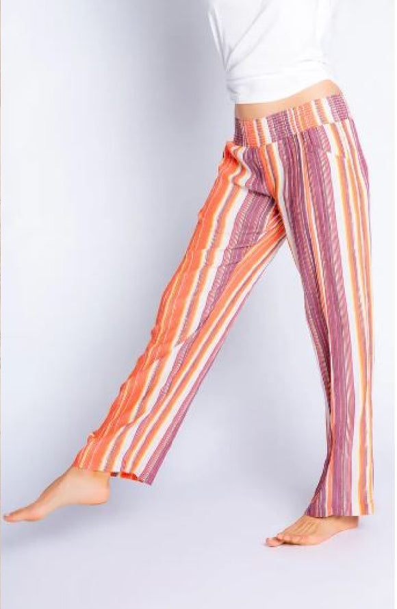 PJ Salvage Rayon Striped Pant with Metallic Thread Detail