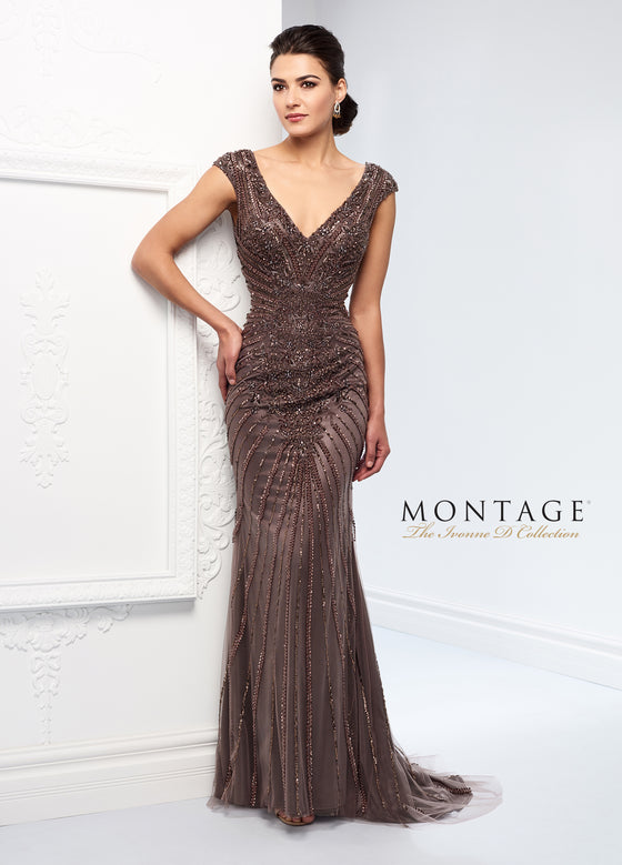 Yvonne D by Mon Cheri 218D22 V-Neck, Cap Sleeve Beaded Gown