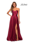 La Femme 28608 Sweetheart Satin Gown With Soft Pleated Bodice And Full Skirt