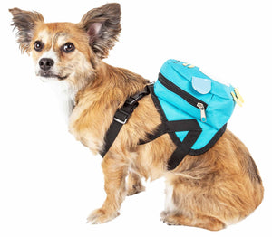 Pet Life ®  'Waggler Hobbler' Large-Pocketed Compartmental Animated Dog Harness Backpack