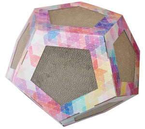 Pet Life ® 'Octagon Puzzle' Designer Premium Quality Kitty Cat Scratcher Lounge Toy & House with Catnip